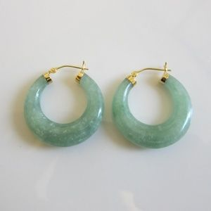 Green Jade & 14K Gold Hoop Earrings